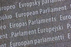 Inscription on European Parliament building - Brussels Belgium. Political background stock photo
