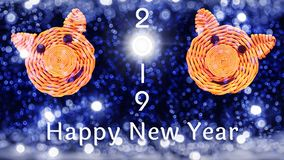 Inscription 2019, faces of pigs, the symbol of 2019 on the Chinese horoscope and congratulations on the New year against the. Beautiful bokeh from the lights stock photos