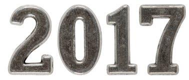 inscription 2017, faite de chiffres en métal, d'isolement sur le dos de blanc Images libres de droits