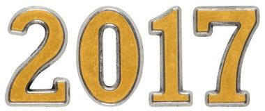 inscription 2017, faite de chiffres en métal, d'isolement sur le dos de blanc Photographie stock