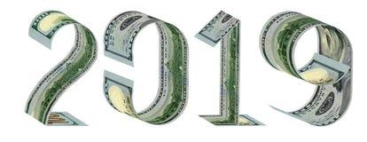 Inscription 2019 faite en cent rendus des billets de banque 3D du dollar photo stock