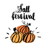 Inscription `Fall Festival` with stylized pumpkin. The inscription  hand-drawing of black ink on a white background. Vector Image. It can be used for a site Royalty Free Stock Photos