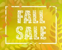 Inscription FALL SALE. Autumnal gradient backdrop with foliage and rectangular frame. Royalty Free Stock Photography
