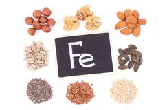 Inscription Fe and ingredients as source iron, omega acids, vitamins, minerals and fiber royalty free stock photos