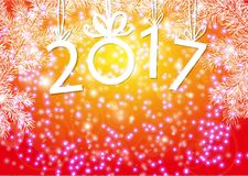 Inscription 2017 figures. Vector illustration. Congratulation card. Inscription 2017 with fir branches. The numbers in 2017 with New Year`s ball Royalty Free Stock Photos