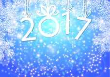 Inscription 2017 figures. Vector illustration. Congratulation card. Inscription 2017 with fir branches. The numbers in 2017 with New Year`s ball Royalty Free Stock Image