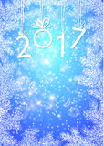 Inscription 2017 figures. Vector illustration. Congratulation card. Inscription 2017 with fir branches. The numbers in 2017 with New Year`s ball Stock Photo