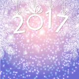Inscription 2017 figures. Vector illustration. Congratulation card. Inscription 2017 with fir branches. The numbers in 2017 with New Year`s ball Royalty Free Stock Images
