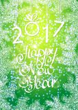 Inscription 2017 figures. Vector illustration. Congratulation card. Inscription 2017 and a happy new year. Hand lettering vector illustration
