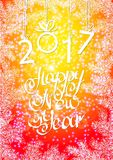 Inscription 2017 figures. Vector illustration. Congratulation card. Inscription 2017 and a happy new year. Hand lettering Royalty Free Stock Photo