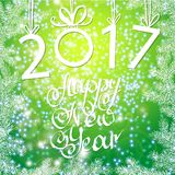 Inscription 2017 figures. Vector illustration. Congratulation card. Inscription 2017 and a happy new year. Hand lettering Stock Image