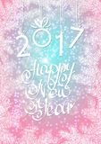 Inscription 2017 figures. Vector illustration. Congratulation card. Inscription 2017 and a happy new year. Hand lettering royalty free illustration