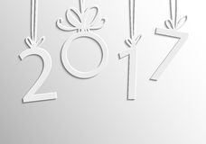 Inscription 2017 figures. Vector illustration. Congratulation card. 2017 inscription of white figures on a background with highlights. The numbers in 2017 with Royalty Free Stock Image