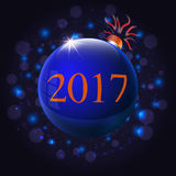 2017 inscription on firework background. Congratulations happy new year on firework background Stock Photo