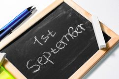 The inscription `the first of September`. On a chalkboard Royalty Free Stock Photography