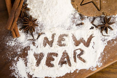 The inscription on the flour - New Year Royalty Free Stock Images