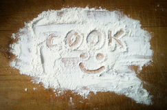 The inscription on the flour Royalty Free Stock Photo