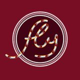 The inscription ` fly ` on a Burgundy background in a circle with ornaments. stock images