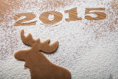 Inscription 2015 form of moose on a wooden table Stock Image