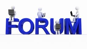 The inscription forum and men with laptops Stock Photography
