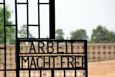 Inscription on the gates to the former Nazi concentration camp. SACHSENHAUSEN-ORANIENBURG, GERMANY - AUGUST 21: Inscription on the gates to the former Nazi Royalty Free Stock Photos