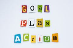 Inscription - goal plan action. A word writing text showing concept of goal plan action Vision concept. royalty free stock image