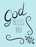 Inscription God bless you with flourishes Royalty Free Stock Photos