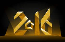 Inscription 2016 golden on a black background. Vector inscription 2016 golden on a black background Royalty Free Stock Photo