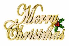 The inscription in golden letters: Merry Christmas.  Stock Photos