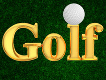 Inscription golf with ball Royalty Free Stock Image