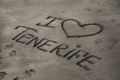 Inscription on the gray sand. I love Tenerife Stock Images