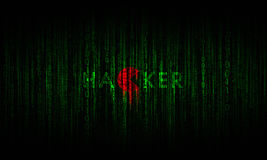 Inscription hacker in cyberspace with digital binary lines Stock Photo