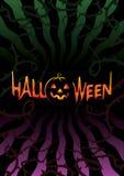 Inscription Halloween on dark background Stock Photos