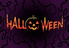 Inscription Halloween on dark background Stock Photo