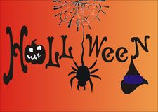 Inscription Halloween and spider. Halloween sign with cobwebs and spider Stock Photo