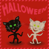 Inscription Halloween and two amusing cats Royalty Free Stock Photography
