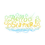 The inscription on hand drawn style. Hello summer on white background. The illustration can be used as an inscription on t-shirts, mugs and other things royalty free illustration