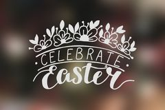 Inscription with hand lettering Celebrate Easter with flowers. Inscription with hand lettering Celebrate Easter. He is risen. Poster. Congratulations. Card Royalty Free Stock Photos