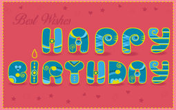 Inscription Happy Birthday. Best wishes. Funny blue and yellow L Stock Photos