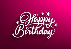 Inscription happy birthday casting a shadow on a pink background royalty free illustration
