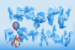 The inscription happy birthday clouds Stock Image