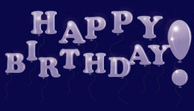 The inscription Happy Birthday of colorless transparent balloons, isolated on a dark background. Royalty Free Stock Images