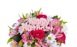 Inscription is Happy Birthday on the flowers. Beautiful festive composition stock image
