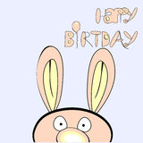 Inscription happy birthday with rabbit Royalty Free Stock Images