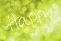 Inscription happy with defocused lights on abstract colorful bok Royalty Free Stock Photos