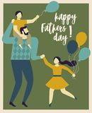 Inscription Happy Father s Day. Dad holding his son and daughter. Vector illustration of a flat design. Happy Father s Day. Dad holding his son and daughter Royalty Free Stock Photography