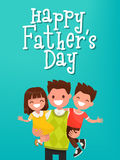 Inscription Happy Father's Day. Dad with kids. Vector illustrati. On. Template for greeting card Royalty Free Stock Photo