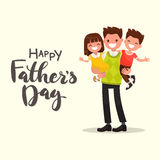 Inscription Happy Father's Day. Father holding his son and daugh. Ter. Vector illustration of a flat design Stock Photography