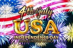 Inscription Happy independence day on usa flag. gold balloon vector firework. Art Stock Photos
