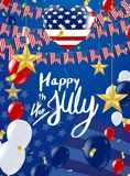 Inscription Happy independence day on usa flag. Eps . 10 Stock Photography